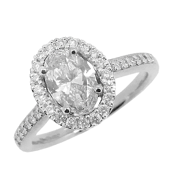 Platinum Oval Diamond Cluster Ring, Diamond Shoulders