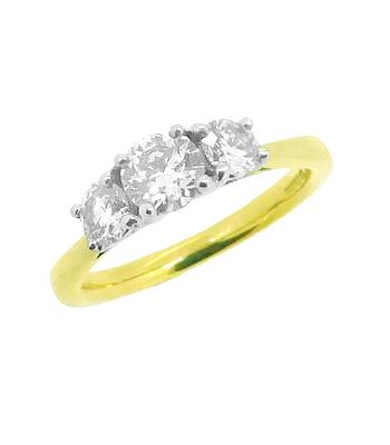 18k Yellow & White Gold 3 Stone Brilliant Cut Diamond Ring