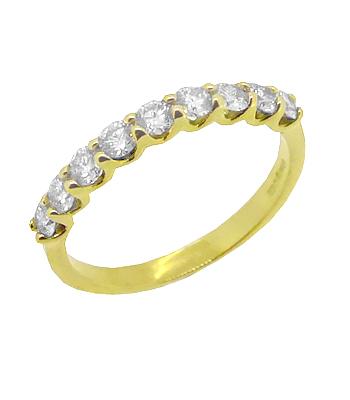 18k Yellow Gold 9 Stone Brilliant Cut Diamond Ring