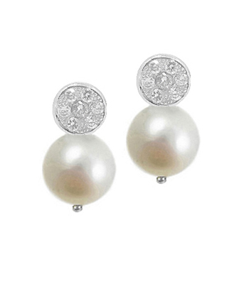 18k Yellow And White Gold Pearl & Brilliant Cut Diamond Cluster Stud Earrings