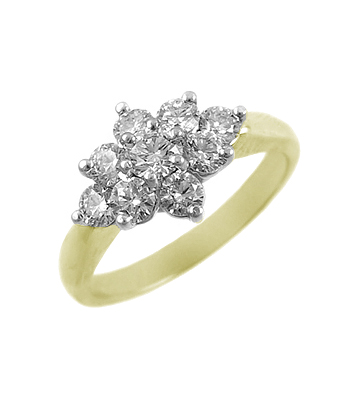 18k Yellow and White Gold 9 Stone Diamond Cluster Ring