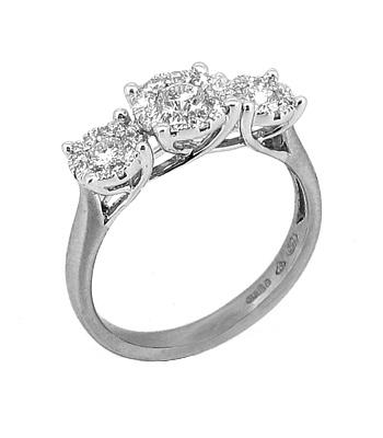18k White Gold Diamond Treble Pastel Set Cluster Ring