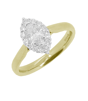 18k Yellow And White Gold Marquise Diamond Cluster Ring