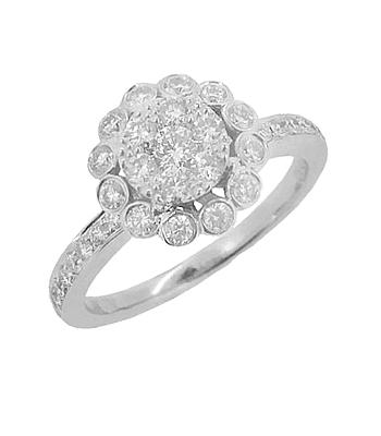 18k White Gold Diamond Pastel set Cluster Ring