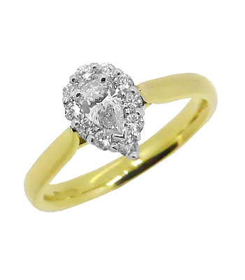 18k White Gold Pearshape Diamond Cluster Ring