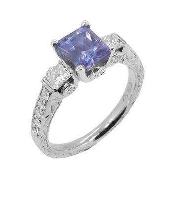 18k White Gold Square Sapphire & Brilliant Cut Diamond Ring