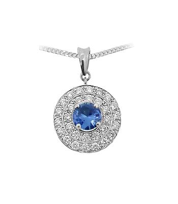 18k White Gold Sapphire & Diamond Cluster Pendant On Chain