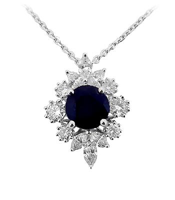 18k White Gold Round Sapphire & Diamond Cluster Pendant On Chain