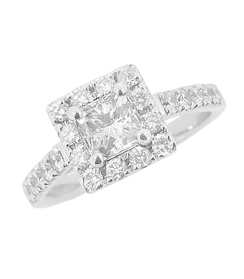 18k White Gold Princess Cut And Brilliant Cut Diamond Cluster Ring