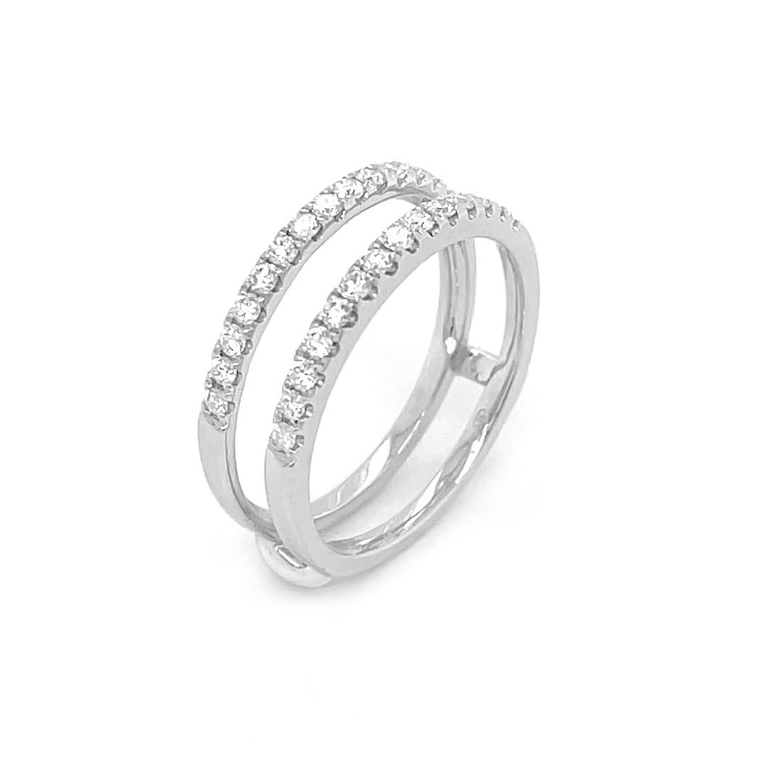 18k White 0.43cts Diamond Keeper Wedding Ring