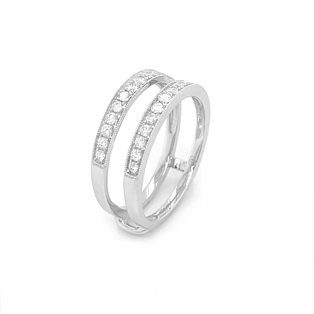18k White 0.45cts Diamond Keeper Wedding Ring