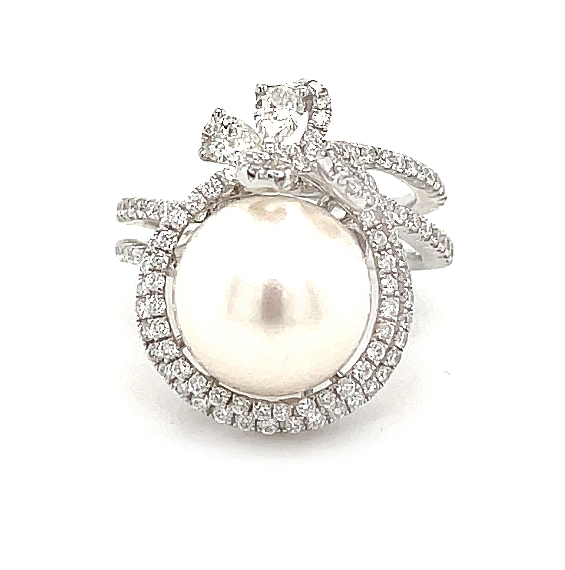 18k White Gold 11-11.5mm Pearl & Brilliant Cut Diamond Dress Ring