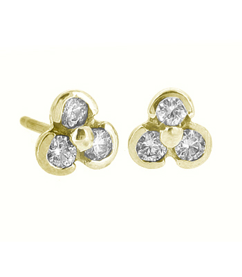 18k White Gold 3 Stone Brilliant Cut Diamond Stud Earrings