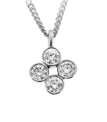 18k White Gold 4 Stone Brilliant Cut Diamond Pendant On Chain