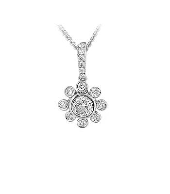 18k White Gold Brilliant Cut Diamond Cluster Drop Pendant On Chain