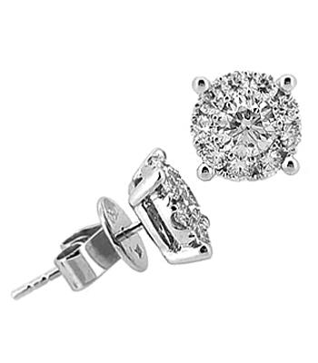 18k White Gold Brilliant Cut Diamond Pastel Set Stud Earrings