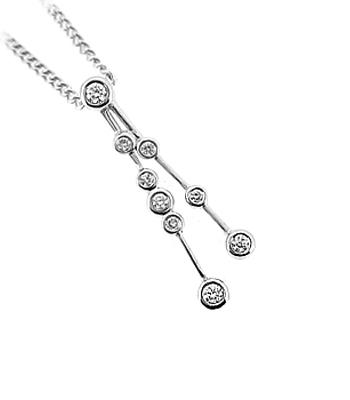 18k White Gold Brilliant Cut Diamond Pendant On Chain