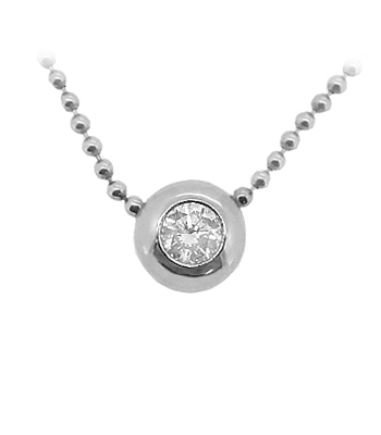 18k White Gold Brilliant Cut Diamond Solitaire Necklace