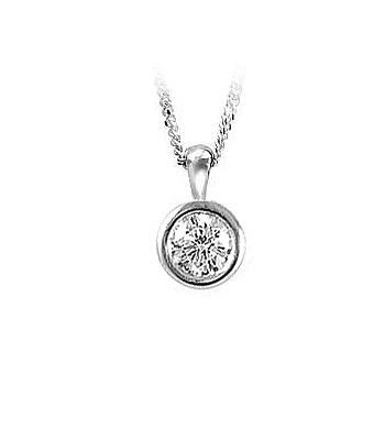 18k White Gold Brilliant Cut Diamond Solitaire Pendant On Chain