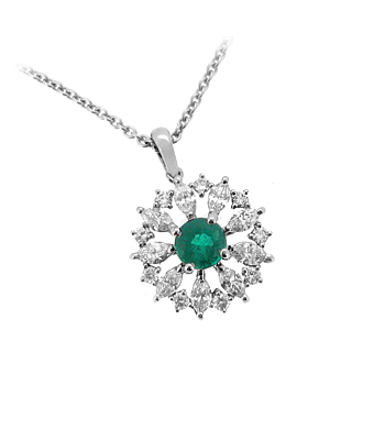 18k White Gold Emerald And Diamond Cluster Pendant On Chain
