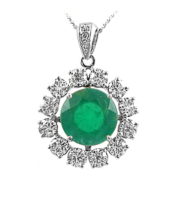 18k White Gold Round Emerald & Diamond Cluster Pendant On Chain