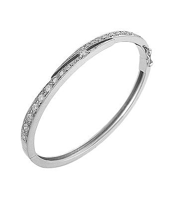 18k White Gold Graduated Brilliant Cut Diamond Bangle