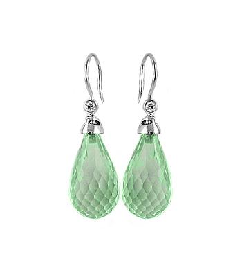 18k White Gold Green Amethyst & Brilliant Cut Diamond Hoop Earrings