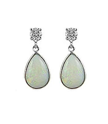 18k White Gold Pearshape Opal & Brilliant Cut Diamond Drop Earrings