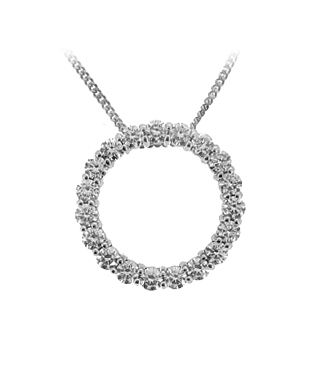 18k White Gold Pendant On Chain With Diamonds