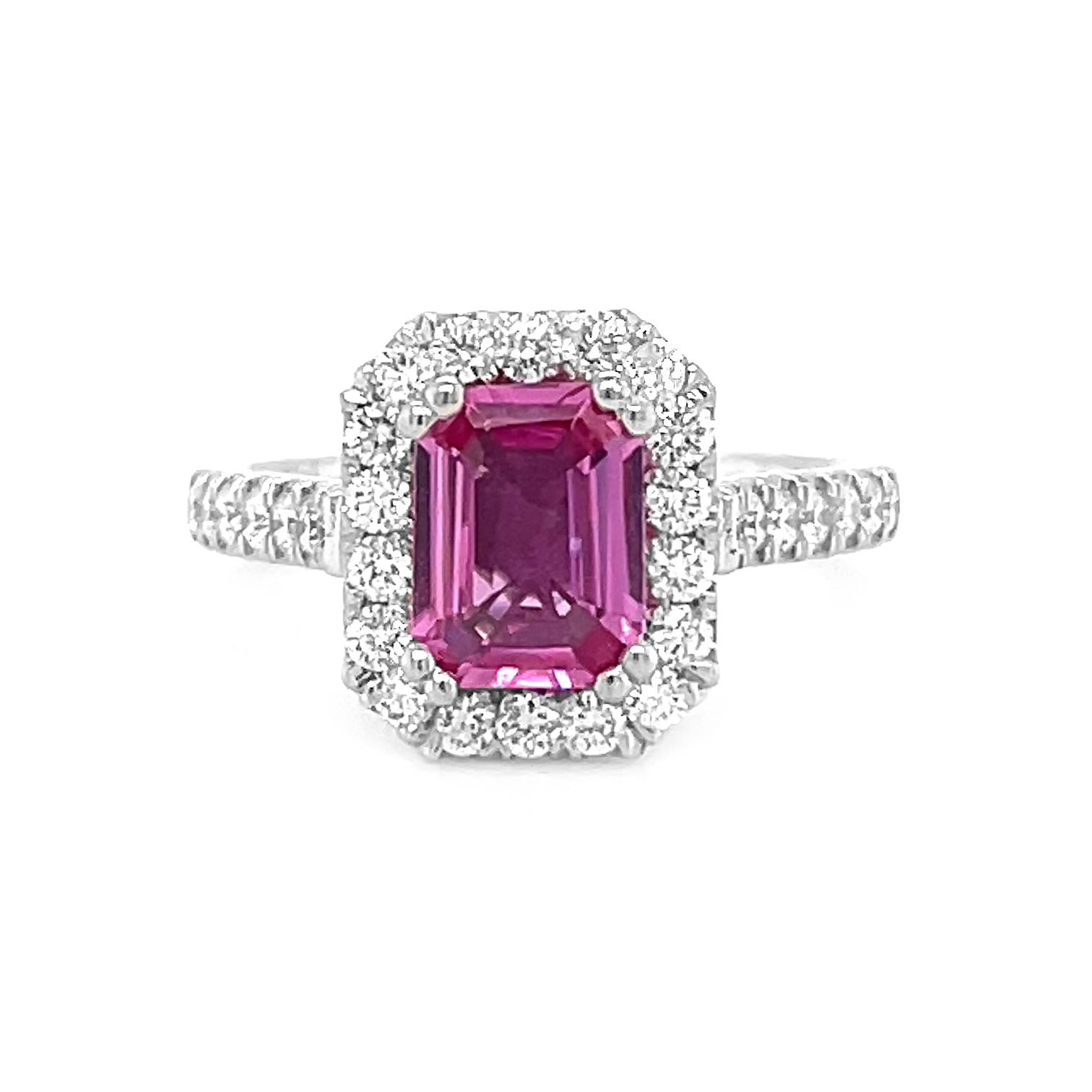 18k White Gold Pink Sapphire & Brilliant Cut Diamond Cluster Ring