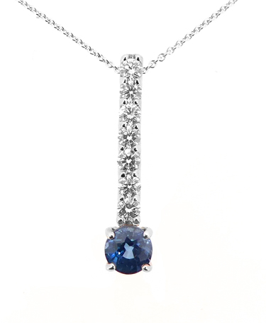 18k White Gold Round Sapphire And Brilliant Cut Diamond Bar Pendant On Chain