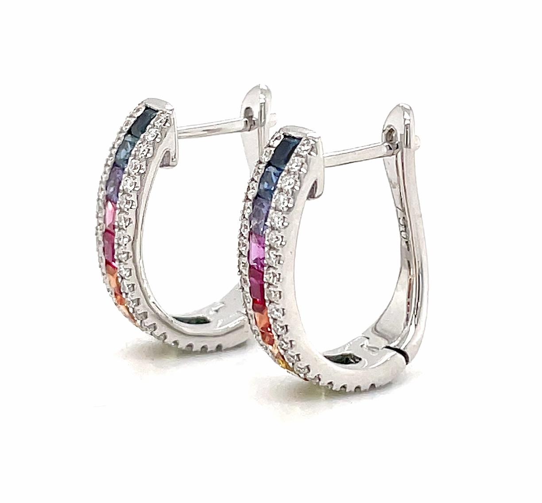 Multicolour Sapphire And Diamond Hoop Earrings In 18k White Gold
