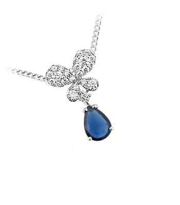 18k White Gold Sapphire & Diamond Butterfly Pendant On Chain
