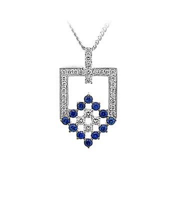 18k White Gold Sapphire & Diamond Pendant On Chain