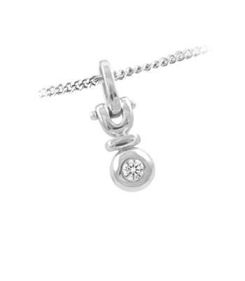 18k White Gold Single Stone Brilliant Cut Diamond Pendant On Chain