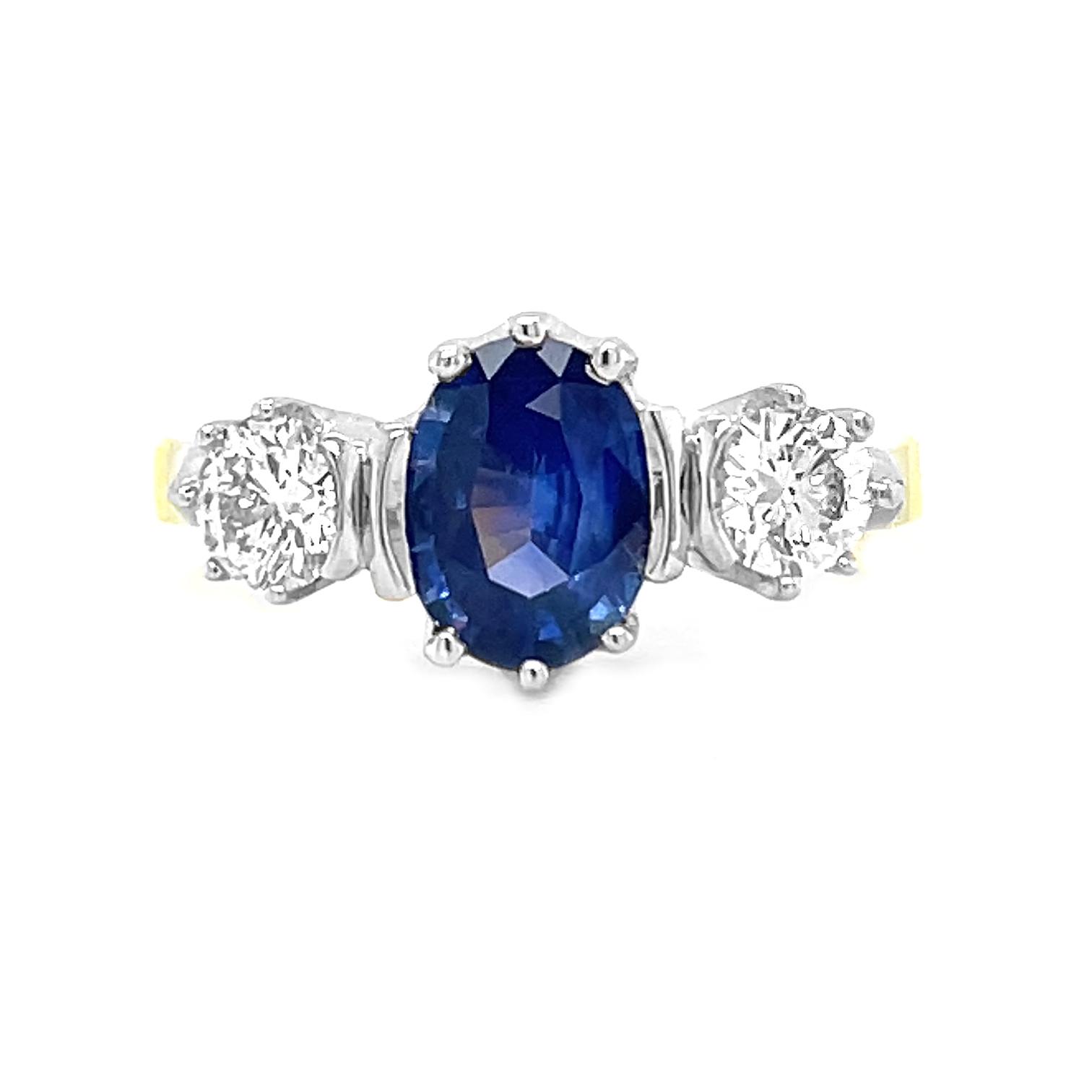 18k Yellow And White Gold 3 Stone Oval Sapphire & Brilliant Cut Diamond Ring