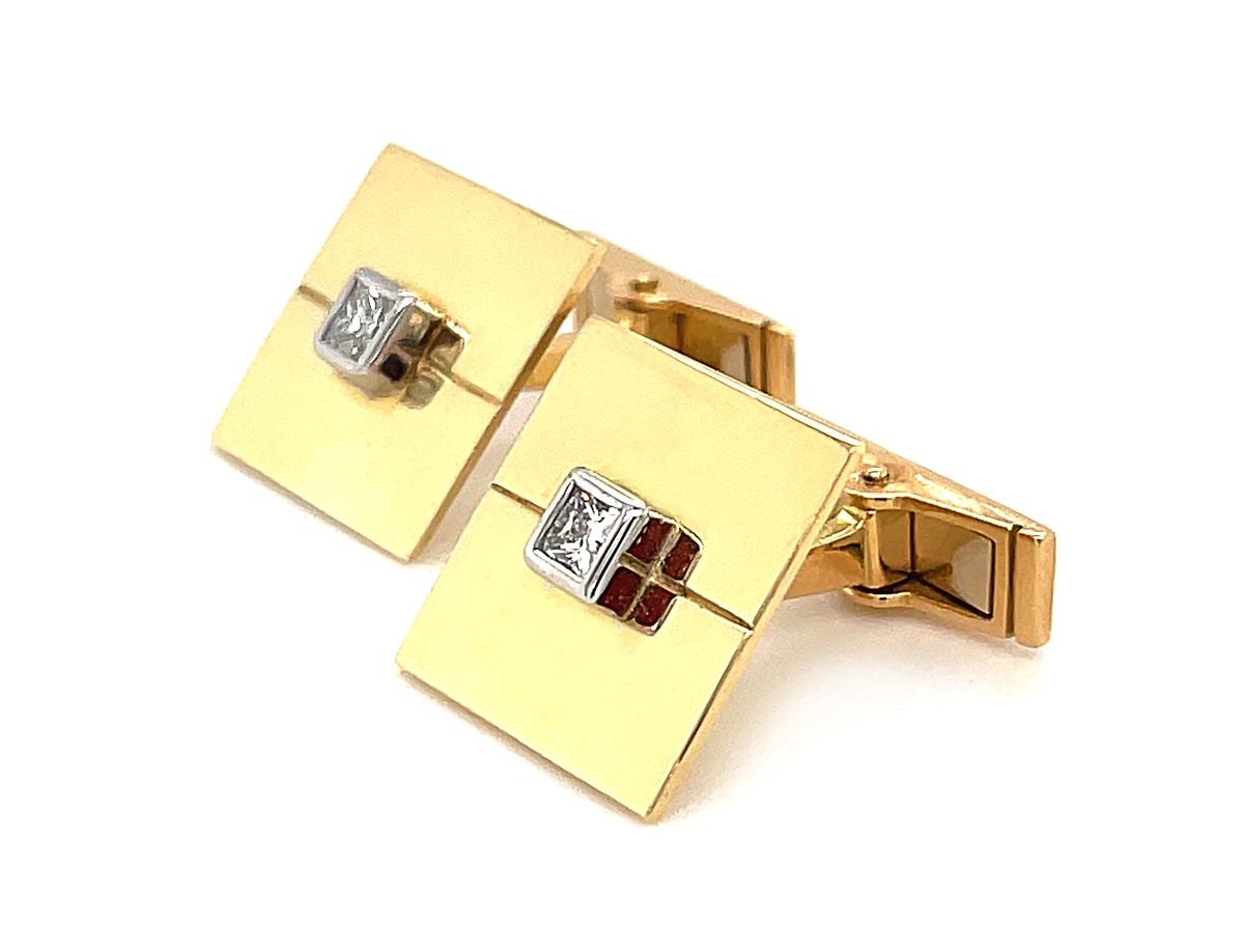 18k Yellow Gold Princess Cut Diamond Square Gents Cufflinks